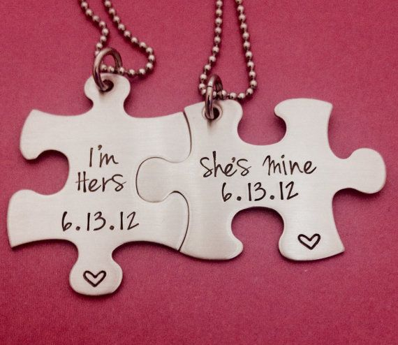 Customizable Puzzle Piece Necklace Set I'm Hers by One27Designs