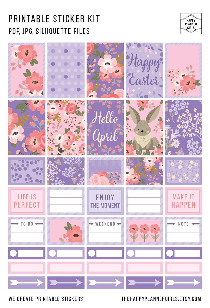 Beautiful April Happy Planner Sticker Kit. #stickers #happyplanner #planner