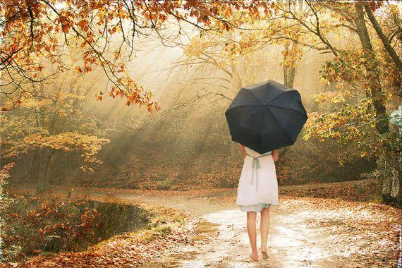 autumn, barefoot with umbrella