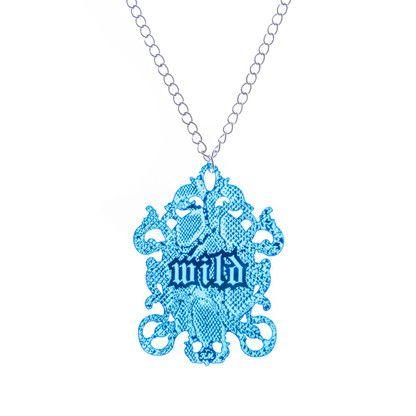 WILD Blue mirrored pendant with snake print by KiviMeri Finland.