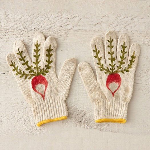 These canvas gloves will assist you as you prepare for spring. Red painted radishes. Durable hand-painted with fabric acrylic-based paint.