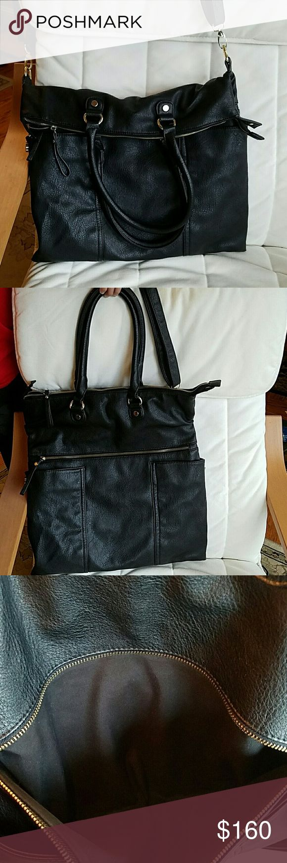 """🐇🌸Steven by Steve Madden Leather Foldover Tote🌸 Like New Steven by Steve Madden Leather Foldover Tote.  Soft leather with 2 large outer zippers and 2 side magnetic pockets.  An inner zipper pocket and 2 slots.   Gold plated hardware, leather handles and crossbody strap.  Black lining.  Dimensions lying flat are 18"""" H x 16 1/5"""" W. Bought at actual Steve Madden store. Steven by Steve Madden Bags Totes"""
