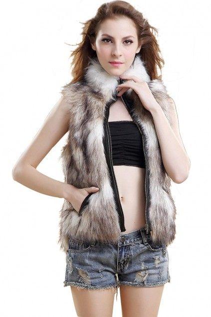 LUCLUC Brown Slim Faux Fur Short Vest