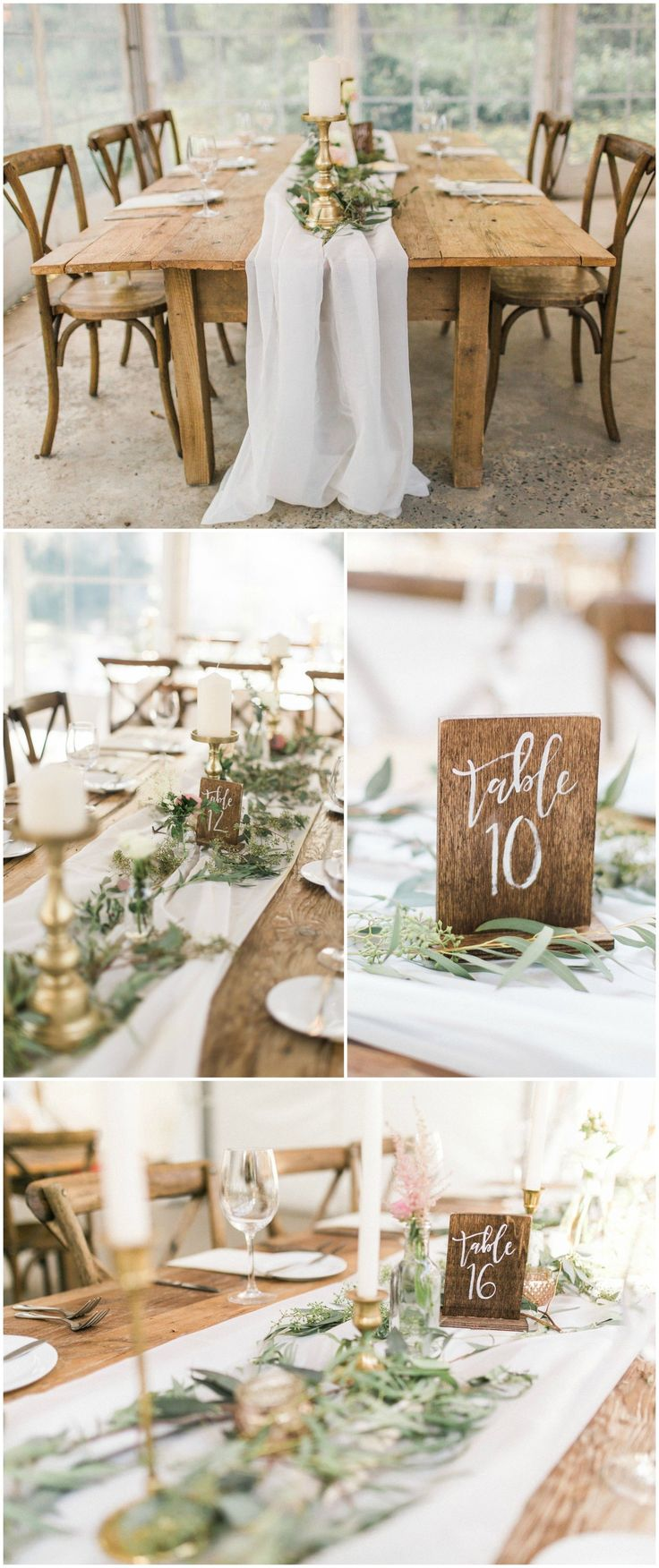 Natural wedding reception, wooden block table numbers, cross-back chairs, long wood tables, white linens, loose leaves, white candles // Ashley Errington Photography