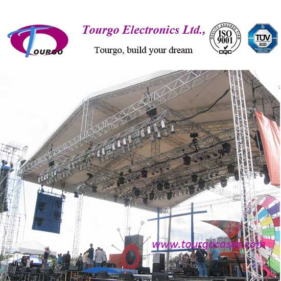 Peaked roof aluminum stage truss system for outdoor event