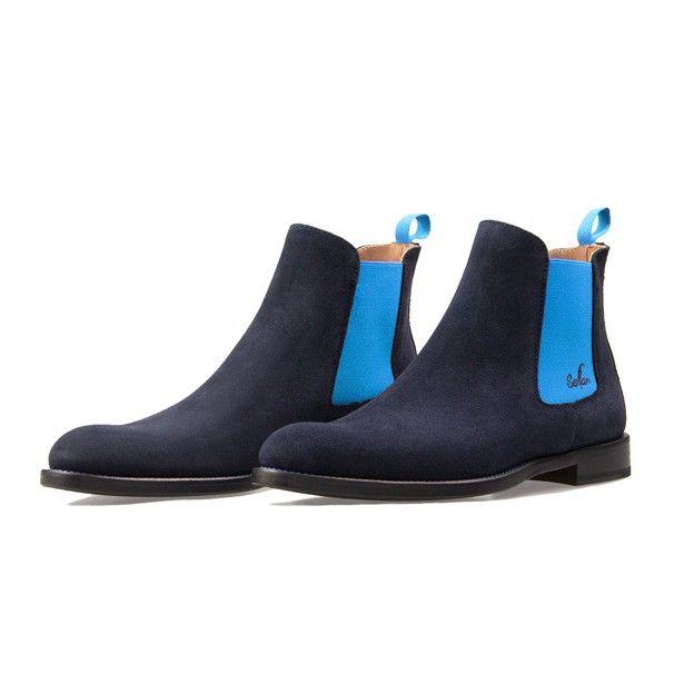 7b092789a6a74d Serfan Chelsea Boot Herren Wildleder Blau Blau