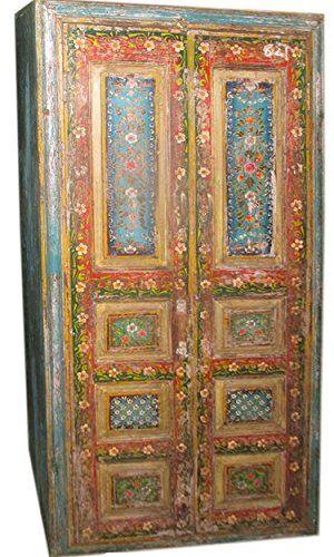 Elegant Vintage Indian Cabinet Reclaimed Antique Jodhpur Teal Patina Floral Storage  Armoire Mogul Interior Http:/