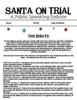 Is Santa a good role model for kids?  This is a FREE Christmas debate topic with assignment sheet and rubric!  Perfect for a public speaking unit!