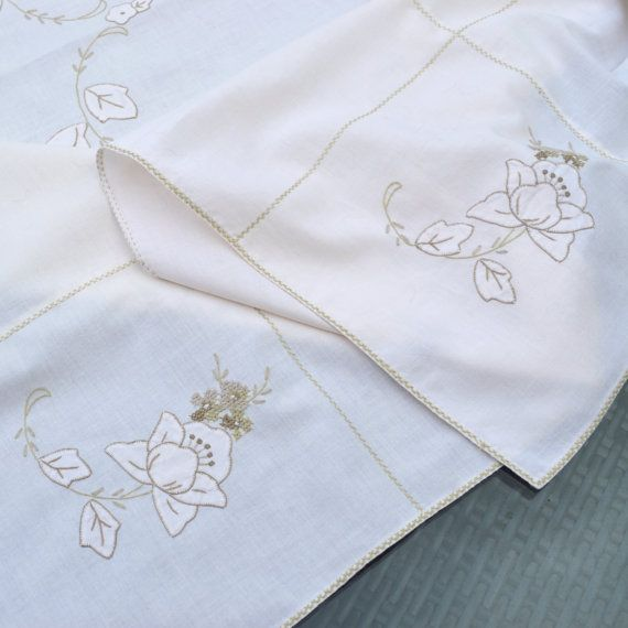 Vintage Embroidered Linen Tea Tablecloth Off White/ by Wicksteads