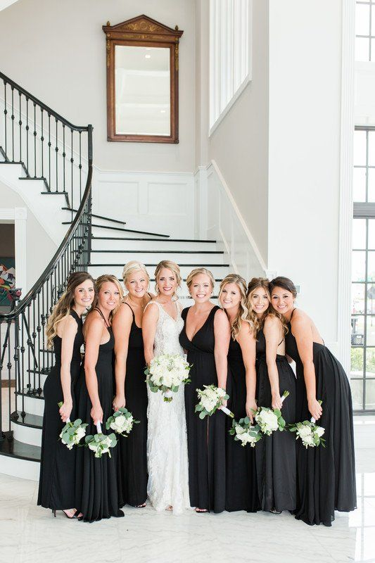 Black bridesmaid dresses with varying necklines {Abby Waller Photography}