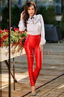 Pantaloni rosii piele ecologica