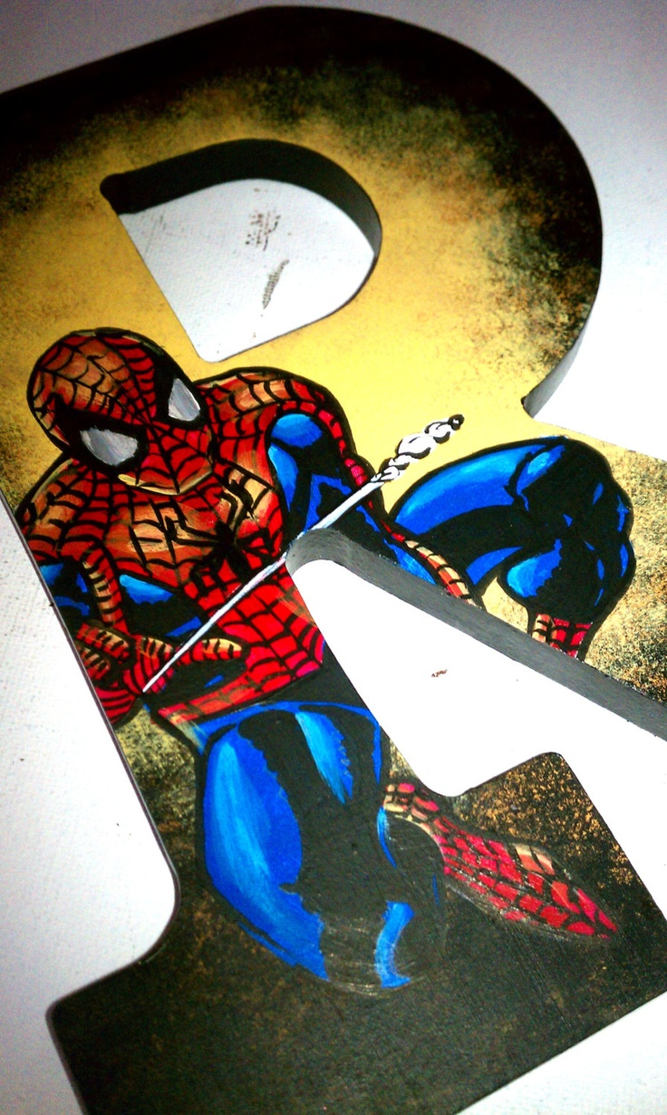 "Spiderman - 9"" Hand Painted Wooden Letters"