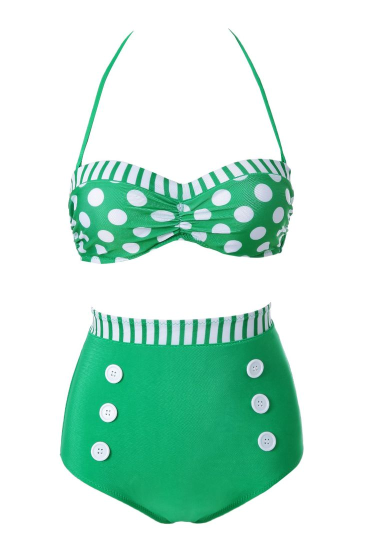 Fashionable Polka Dot Stripe Color Block Bikini Set For Women #shoes, #jewelry, #women, #men, #hats, #watches, #belts