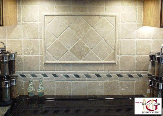 Stone kitchen backsplash custom tumbled marble tile for Granite backsplash with tile above