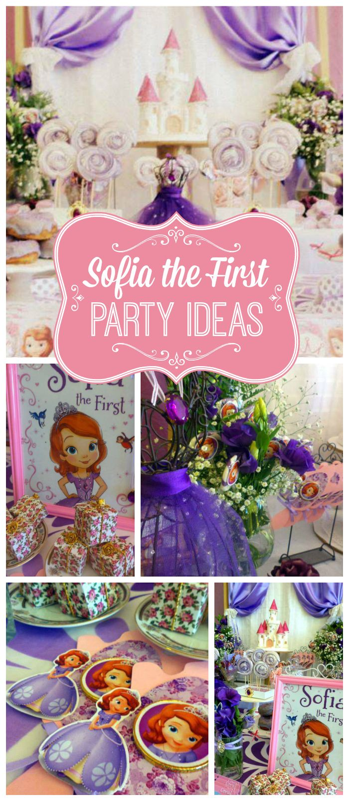 A Sofia the First girl birthday party with pretty party decorations in pink and purple!  See more party planning ideas at CatchMyParty.com!