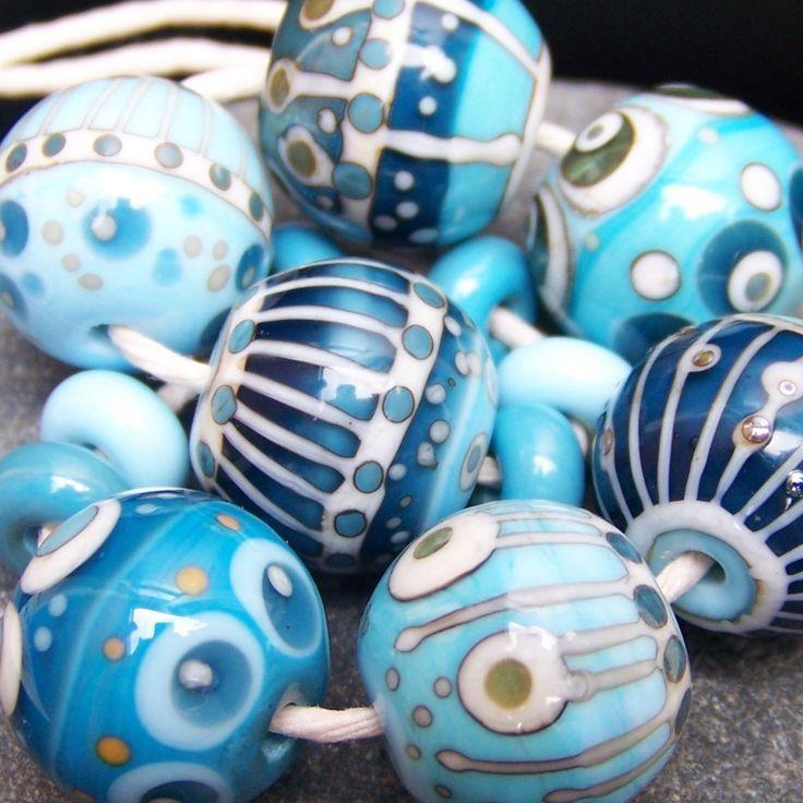 Handmade Lampwork Bead Sets | MruMru Handmade Lampwork Glass Bead set. Sra. by magdalenaruiz