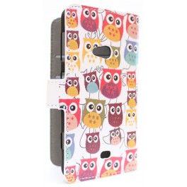 Lumia 625 värikkäät pöllöt puhelinlompakko
