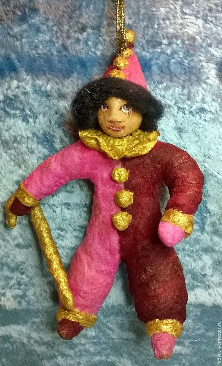 Купить Ватная елочная игрушка Петрушка(15,5 см) - кукла ручной работы, розовый, вата