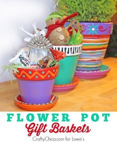 Paint flower pots and fill with fun items and use as guest or housewarming gifts! By CraftyChica.com.