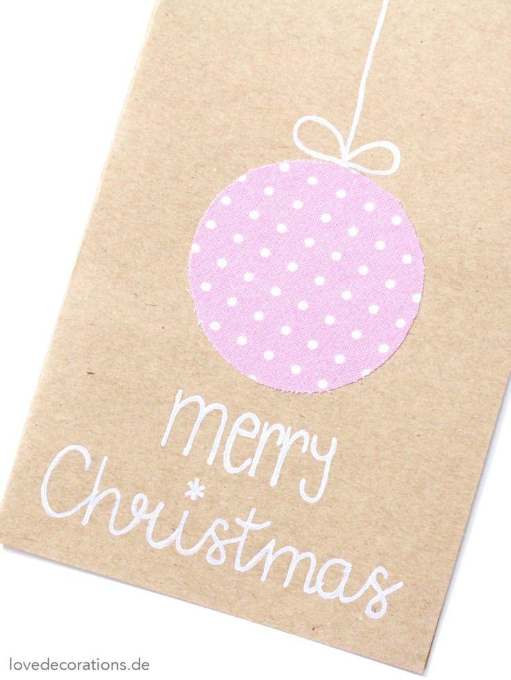 DIY Weihnachtskarte mit Stoff   DIY Christmas Card with Textile