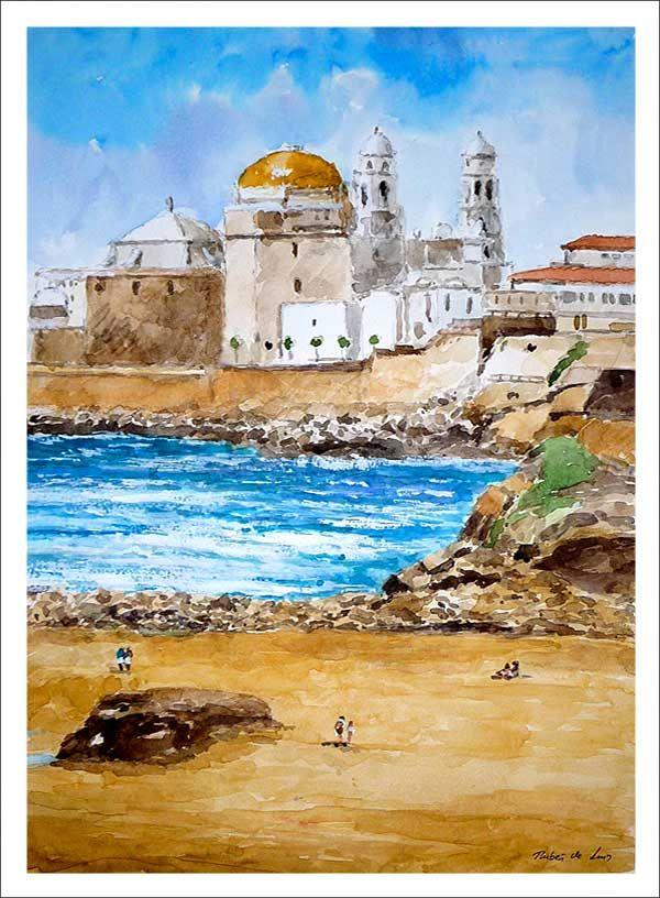 Acuarela de mediano formato de un paisaje de Cádiz en la que se puede ver la…