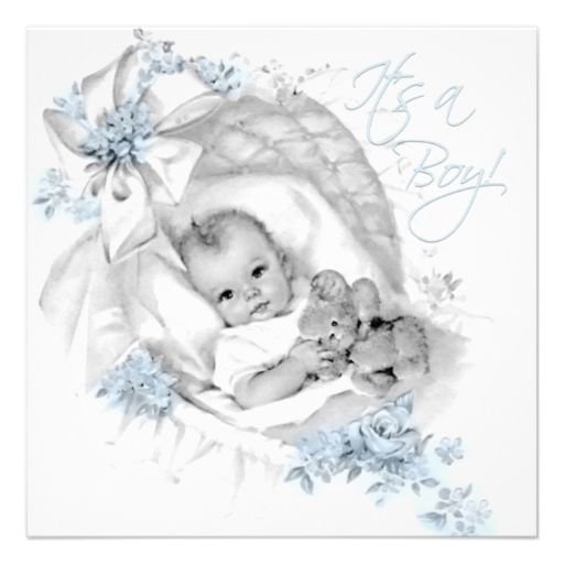 Sweet Baby Blue Bassinet Baby Shower Personalized Invite