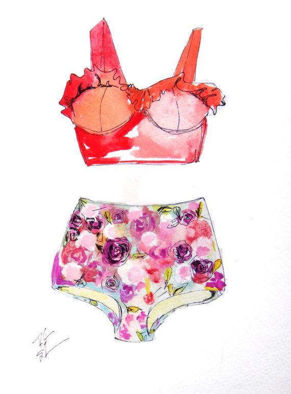 colorful watercolor art print fashion high waisted swimsuit swim bathing suit summer floral swimming illustration