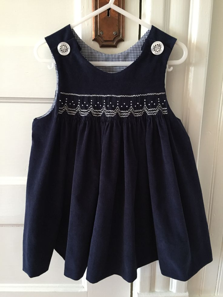 Children's Corner Amy smocked with Michie's free snowflake design. Made by Stephanie Morgan.