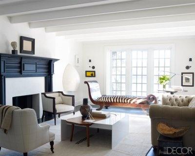 Darryl carter: Living Rooms, Elle Decor, Front Rooms, Interiors Design, Wood Tables, Elledecor, Fireplaces Surroundings, Black Fireplaces, Darryl Carter