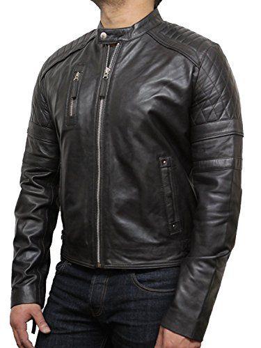 Mens Leather Biker Jacket With Diamond Quilted Stitching ... https://www.  Veste De Motard En Cuir ...