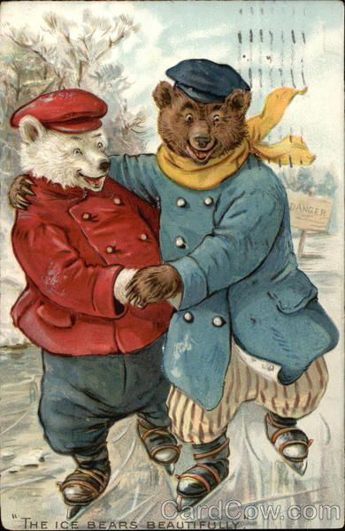 Raphael Tuck, 1907, Vintage postcard, Bears - The Ice Skating Bears, Raphael Tuck