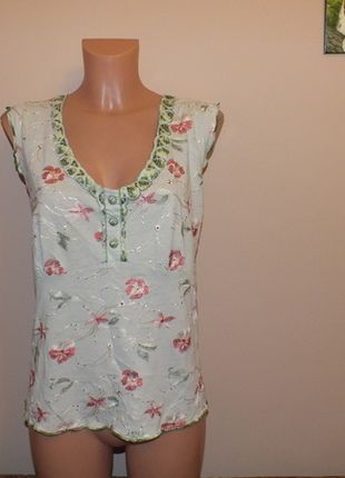 Kup mój przedmiot na #vintedpl http://www.vinted.pl/damska-odziez/bluzki-bez-rekawow/11946706-zielonkawa-bluzeczka-we-wzorki-per-una-18-46-xxxl