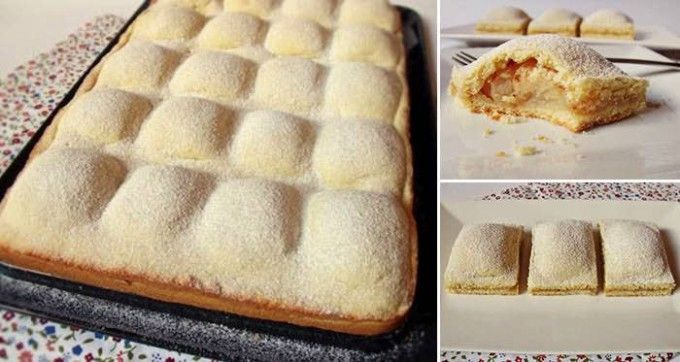 Těsto: 500 ghladká mouka 200 gmoučkový cukr 250 gmáslo 2 ksvejce špetkasůl 1 bal.prášek do pečiva 1-2 lžičkyzakysaná smetana Náplň: 10 ksmenší jablka 2 lžícedětská krupice 4 lžícemoučkový cukr skořice
