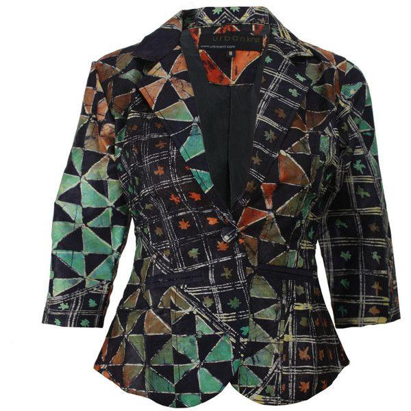 African Indigo Citrus Batik Blazer Nigerian Tie Dye Cropped Jacket ($70) ❤ liked on Polyvore featuring outerwear, jackets, blazers, grey, women's clothing, cropped blazer, grey jacket, 3/4 sleeve blazer, three quarter sleeve blazer and tie dye blazer