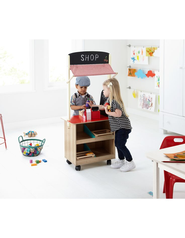 George Home 2 in 1 Wooden Play Shop & Cafe   View All Toys   ASDA direct