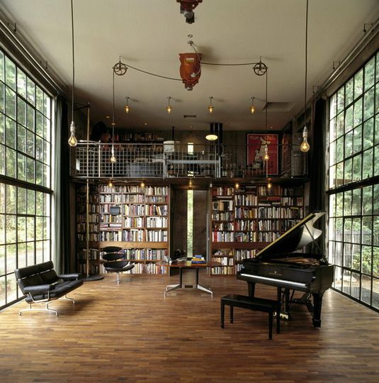 Library, piano, floor-to-ceiling walls of windows | Lofty Inspiration:  Elevated Home Offices