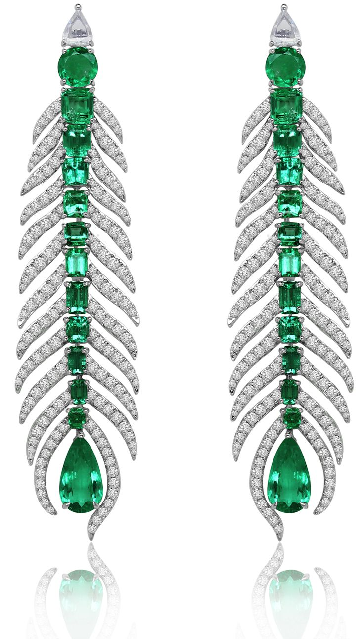 Earrings from The Feather Columbian Emerald collection by Sutra Jewels in 18K white gold set with