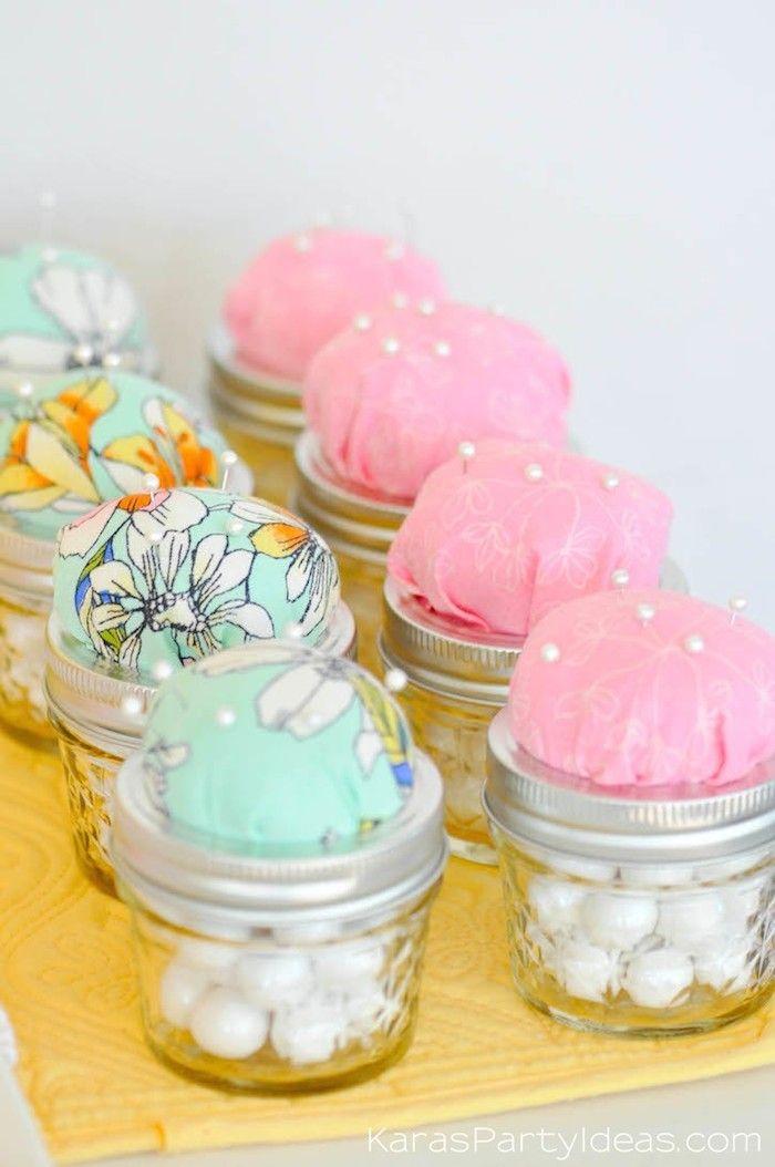 Pin Cushion Jars At A Sewing Themed Birthday Party Via Kara S Party Ideas Kara Allen