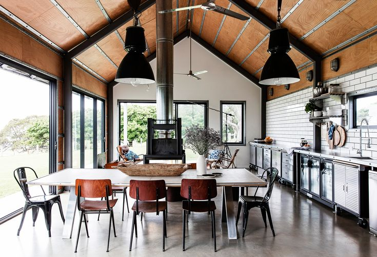 Open-plan kitchen/dining/living from shed converted into a holiday house on the NSW South Coast. Photography: Maree Homer | Styling: Louise Bickle | Story: Australian House & Garden