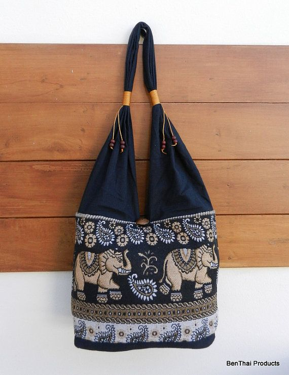 Thai Cotton Shoulder Bag Elephant Parade Purse by BenThaiProducts