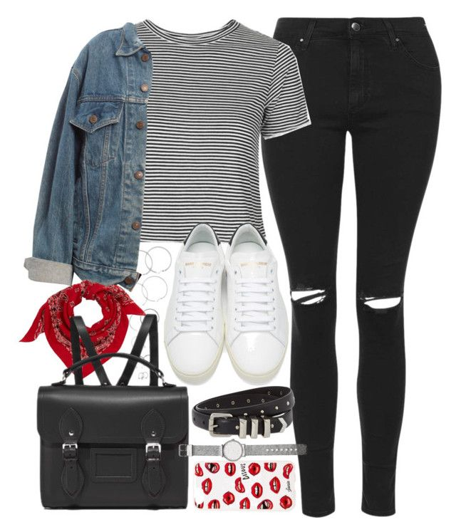 """Outfit for school with a Cambridge satchel"" by ferned ❤ liked on Polyvore featuring Forever 21, Topshop, Levi's, Yves Saint Laurent, The Cambridge Satchel Company, Sonix, Witchery and The Kooples"