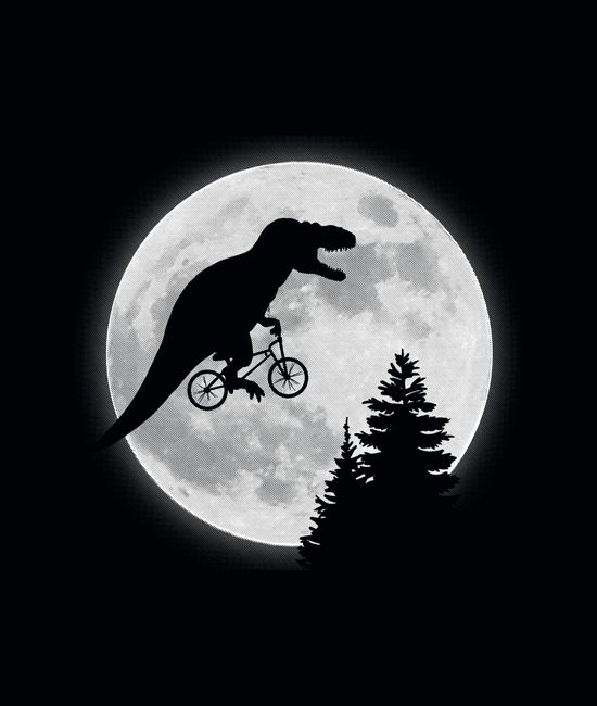 If E.T. featured a T-Rex instead, you'd get this.  Maybe... T-Rex riding bike past the moon.  Graphic t-shirts and hoodies.