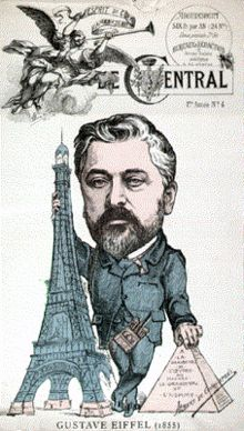 Caricature of Gustave Eiffel comparing the Eiffel tower to the Pyramids.