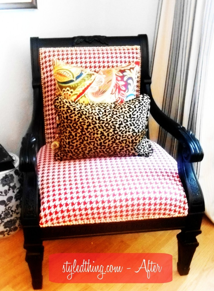 After - Redone chair plus pillows / pattern mixing