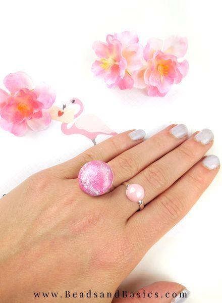 Zelf Een Verstelbare Ring Maken - Roze - Beads & Basics | Online Kralen Kopen