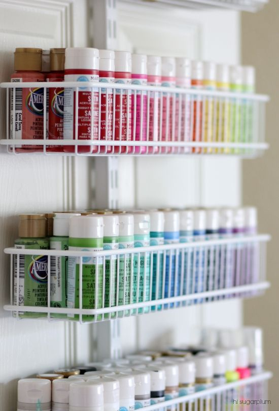 Hi Sugarplum | Organized Craft & Gift Wrap Great idea for using the back of a closet door for more storage and organization