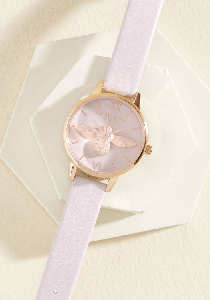 Bee There in a Minute Watch in Blush & Rose Gold - Midi. Your commitment to quickness is easily and elegantly upheld with this Moulded Bee watch by Olivia Burton! #modcloth