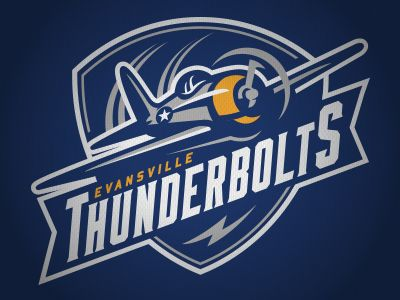 New primary logo for the Evansville Thunderbolts of the NA3HL