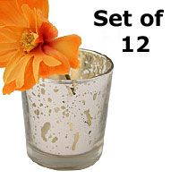 Set of 12  Silver Mercury Glass Votive Holder 2.5 Inches
