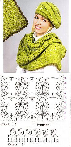 Вязание крючком: берет и шарф